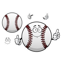 Cartoon baseball ball with thumb up vector image