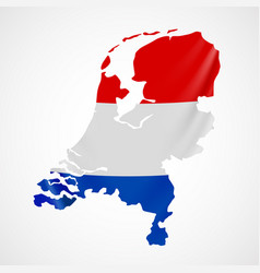 hanging netherlands flag in form of map vector image vector image