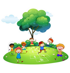 Many children playing hopscotch in the park vector image vector image