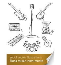 rock music instruments vector image vector image