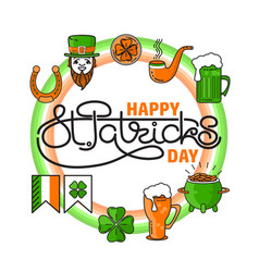 set of st patricks day icon on white vector image