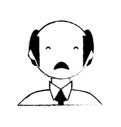 skecth man bald sad face vector image vector image