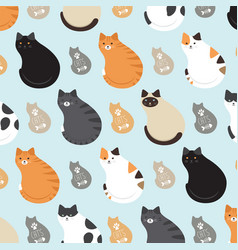 cute pattern with cats vector image
