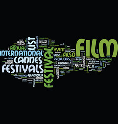 list of film festivals text background word cloud vector image vector image