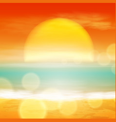 sea sunset with the sun light on lens vector image vector image