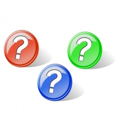 set of glossy question buttons vector image