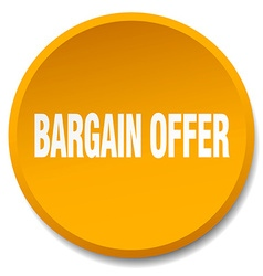 Bargain offer orange round flat isolated push vector