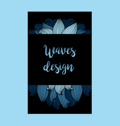 blue waves on black background flyer vector image