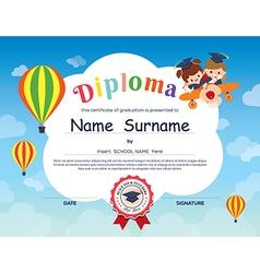 Elementary school Kid Diploma certificate template vector image vector image