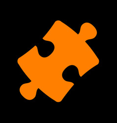 puzzle piece sign orange icon on black background vector image