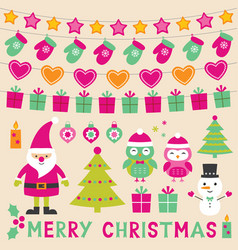 Xmas design elements set vector