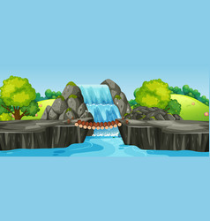 A waterfall nature landscape vector