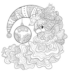 Adult coloring bookpage a christmas moon with vector