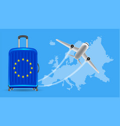 airplane travel europe with luggage on world map vector image