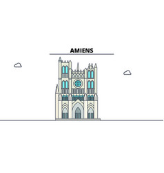 amiens cathedral line travel landmark skylin vector image