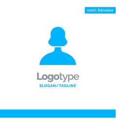 avatar girl person user blue solid logo template vector image
