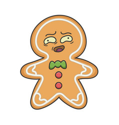 awkward christmas holiday ginger bread cookie vector image