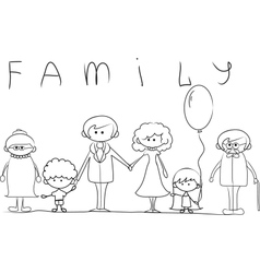 Big family outline vector image