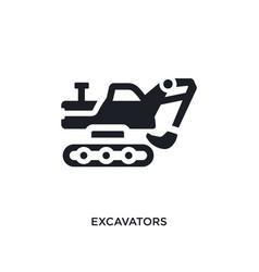Black excavators isolated icon simple element vector