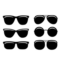 Black glossy sunglasses and glasses set icons vector