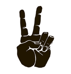 black silhouette realistic victory or peace hand vector image