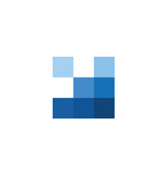 Blue tile square logo flat logo concept vector