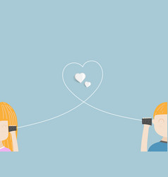 Boy and girl in love with can phone vector
