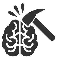 Brain impact flat icon vector