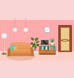 Bright colors living room interior with furniture vector