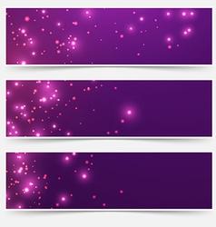Bright glittering sparkle flare headers set vector image