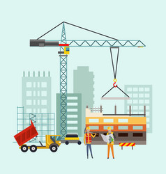 builders on construction site building work vector image