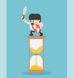 business stand on the hourglass ready to fight vector image