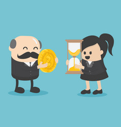 businessman and businesswoman are change a watch vector image