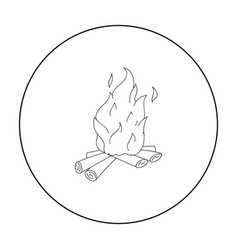 Campfire of stone age icon in outline style vector