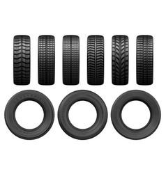 Car tires tread tracks vector