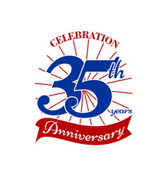 Celebrating 35 th years vector