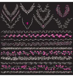 chalkboard set hand drawn floral graphic design vector image