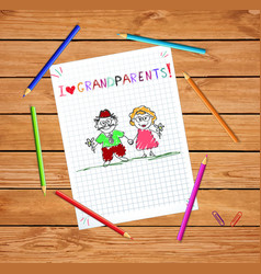 children hand drawn greeting card with grandpa vector image