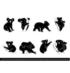Collection koala bear silhouette vector