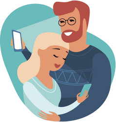 Couple cheaters hugging and texting everyone vector