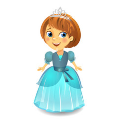 cute little princess in a blue dress vector image
