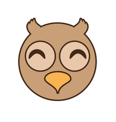 Cute owl face kawaii style vector