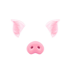 Cute pink pig s ears and nose funny mask of vector