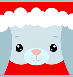 cute rabbit face santa claus hat on bunny vector image