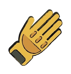 Drawing yellow glove protection fireman elements vector