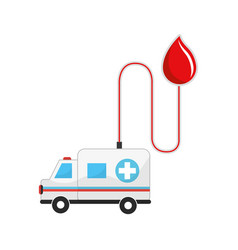 drop transfusing blood in the ambulance car vector image