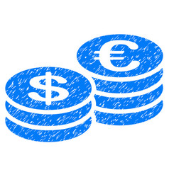 euro and dollar coins grunge icon vector image