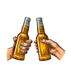 female and male hands holding and clinking open vector image