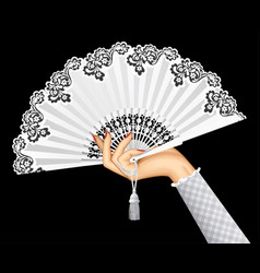 female hand with open white vintage fan isolated vector image