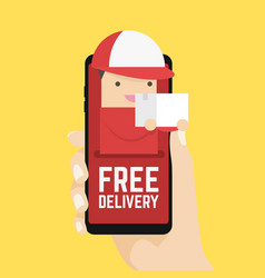 free delivery online on mobile in your hand vector image